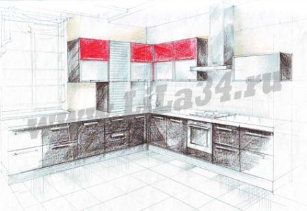 Эскиз кухни частного дома Волжский