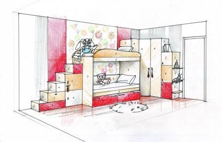 Эскиз детской комнаты-Волжский