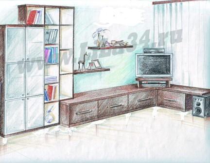 Эскиз мебели для гостиной