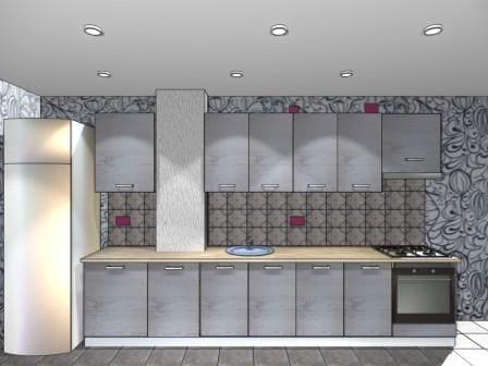 Эскиз кухни фасады ВУД ЯСЕНЬ