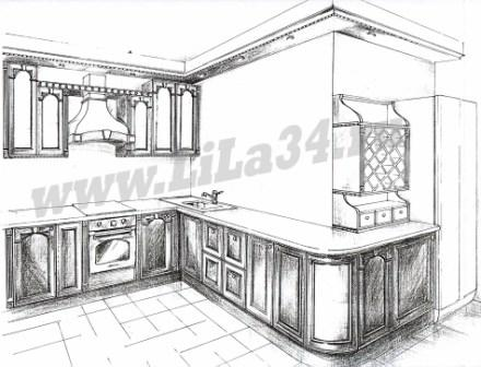 Эскиз кухни - массив ореха Италия