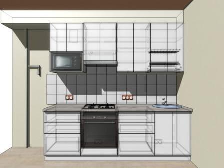 Эскиз прямой кухни фасад AGT белый