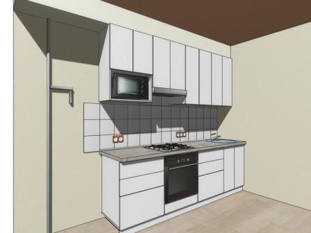 Общий вид на эскизе прямая кухня