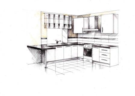 Эскиз кухни для однокомнатной квартиры