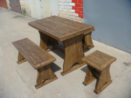 Стол, лавка, табуретки для дачи состаренные в Волжском